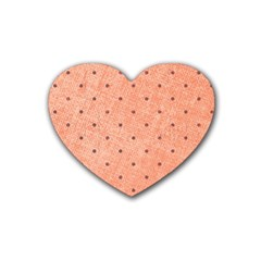 Dot Peach Heart Coaster (4 Pack)