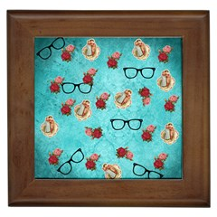 Vintage Glasses Blue Framed Tiles
