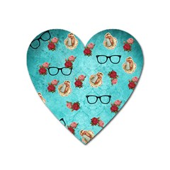 Vintage Glasses Blue Heart Magnet