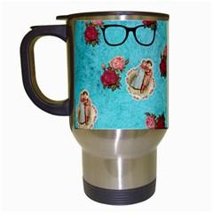 Vintage Glasses Blue Travel Mugs (white)