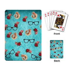 Vintage Glasses Blue Playing Card