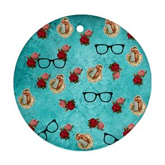 Vintage Glasses Blue Round Ornament (two Sides)