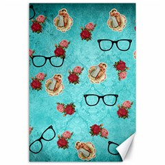 Vintage Glasses Blue Canvas 24  X 36