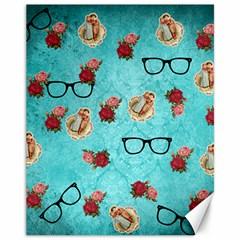 Vintage Glasses Blue Canvas 11  X 14