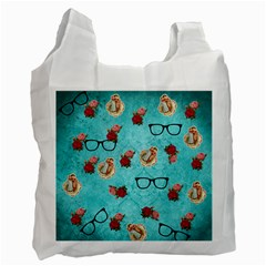 Vintage Glasses Blue Recycle Bag (two Side)