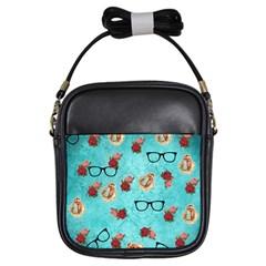 Vintage Glasses Blue Girls Sling Bags