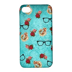 Vintage Glasses Blue Apple Iphone 4/4s Hardshell Case With Stand