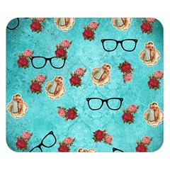 Vintage Glasses Blue Double Sided Flano Blanket (small)
