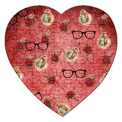 Vintage Glasses Rose Jigsaw Puzzle (heart)