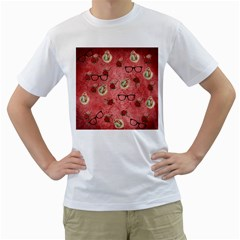 Vintage Glasses Rose Men s T Shirt (white)