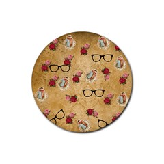Vintage Glasses Beige Rubber Coaster (round)