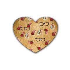 Vintage Glasses Beige Heart Coaster (4 Pack)
