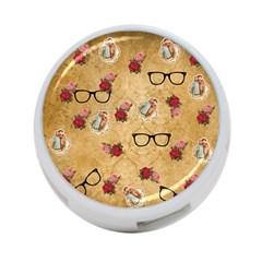 Vintage Glasses Beige 4 Port Usb Hub (two Sides)
