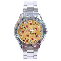 Vintage Glasses Beige Stainless Steel Analogue Watch