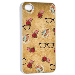 Vintage Glasses Beige Apple Iphone 4/4s Seamless Case (white)