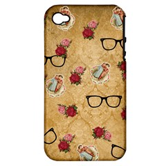 Vintage Glasses Beige Apple Iphone 4/4s Hardshell Case (pc+silicone)
