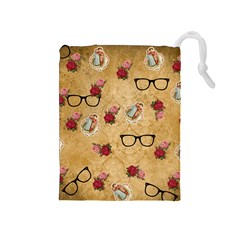Vintage Glasses Beige Drawstring Pouches (medium)