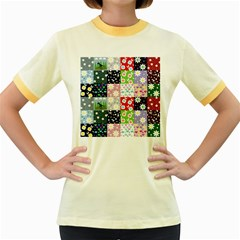 Dino Quilt Women s Fitted Ringer T Shirts