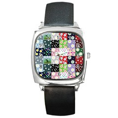 Dino Quilt Square Metal Watch