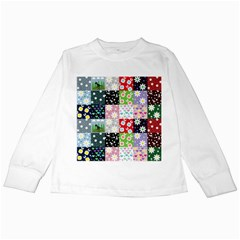 Dino Quilt Kids Long Sleeve T Shirts