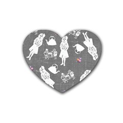 Chalkboard Kids Rubber Coaster (heart)