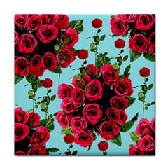Roses Blue Tile Coasters