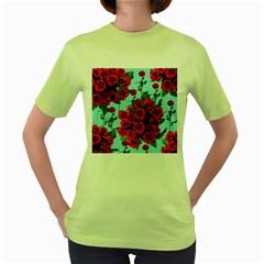 Roses Blue Women s Green T Shirt
