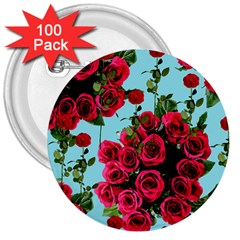 Roses Blue 3  Buttons (100 Pack)