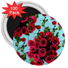 Roses Blue 3  Magnets (100 Pack)
