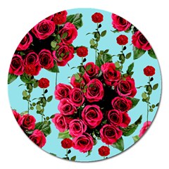 Roses Blue Magnet 5  (round)