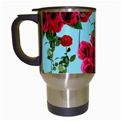 Roses Blue Travel Mugs (white)