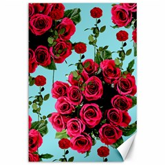 Roses Blue Canvas 12  X 18