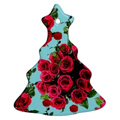 Roses Blue Christmas Tree Ornament (two Sides)
