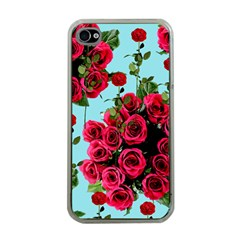 Roses Blue Apple Iphone 4 Case (clear)