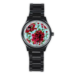 Roses Blue Stainless Steel Round Watch