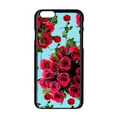 Roses Blue Apple Iphone 6/6s Black Enamel Case