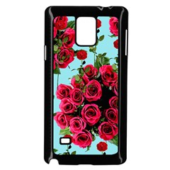 Roses Blue Samsung Galaxy Note 4 Case (black)