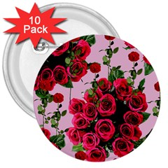Roses Pink 3  Buttons (10 Pack)
