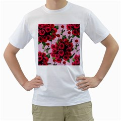 Roses Pink Men s T Shirt (white) (two Sided)