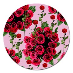 Roses Pink Magnet 5  (round)