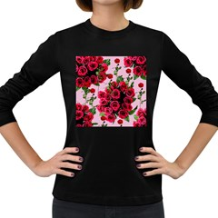 Roses Pink Women s Long Sleeve Dark T Shirts