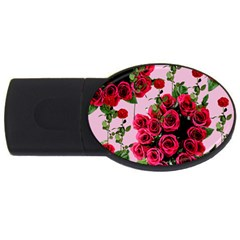 Roses Pink Usb Flash Drive Oval (4 Gb)