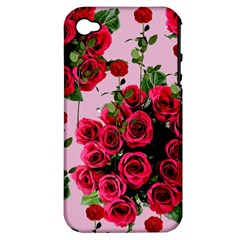 Roses Pink Apple Iphone 4/4s Hardshell Case (pc+silicone)