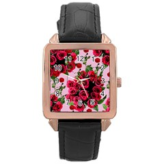 Roses Pink Rose Gold Leather Watch
