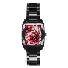 Roses Pink Stainless Steel Barrel Watch