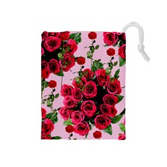 Roses Pink Drawstring Pouches (medium)