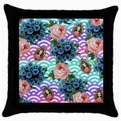 Floral Waves Throw Pillow Case (black)