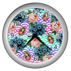 Floral Waves Wall Clocks (silver)