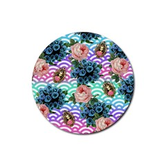 Floral Waves Rubber Round Coaster (4 Pack)