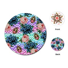 Floral Waves Playing Cards (round)
